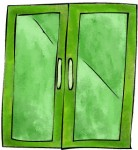 green glass doors